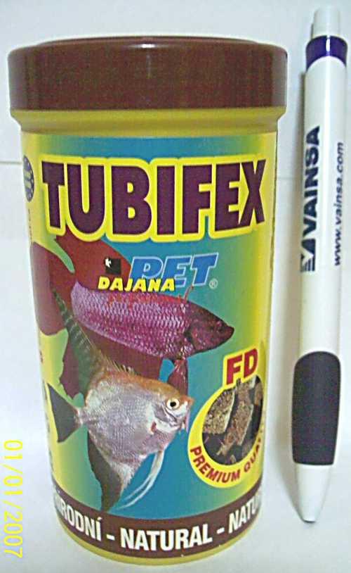Comida Dajana Tubifex Liofi 250 Ml Pote Grande Peces Acuario