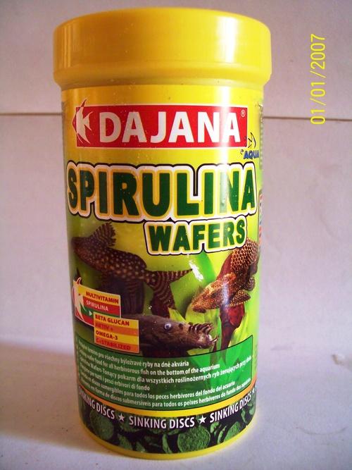 Comida Spirulina Wafer 100gr/250m Pote Grande Peces Acuario