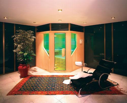 Droge sauna met kleurentherapie.