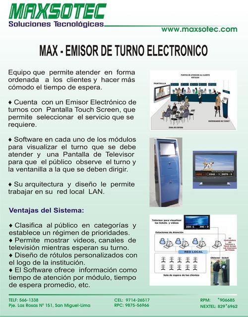 EQUIPO DE TURNO ELECTRONICO