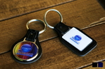 Leather key chains and resin