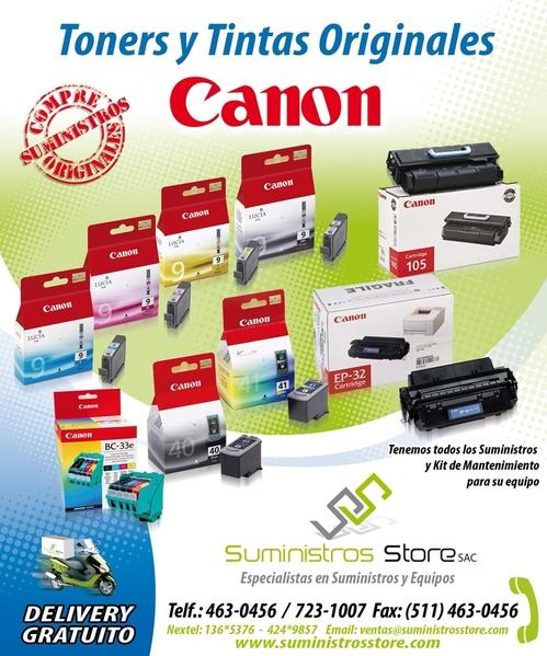 Tintas y toner Canon - reparto gratuito en lima y distritos