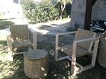 model houten stoel bekleed met riet