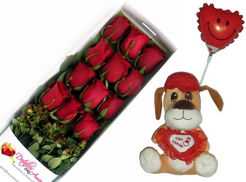 Caja de 12 rosas naturales + globo + perrito de peluche