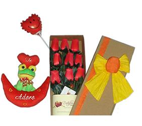 Caja de 09 rosas eternas + globo + ranita en media luna