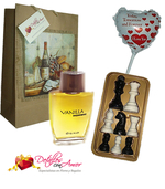 Ajedrez en Chocolate + perfume + globo + bolsa