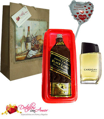 Whisky de chocolate + perfume + globo + bolsa