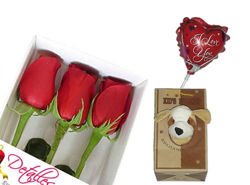 Caja de 03 rosas naturales + globo + perrito en bolsa
