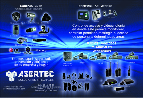 radios de comunicacion motorola y otros, camaras de seguridad ect.