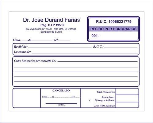 vergoeding ontvangstbewijzen, facturen, rekeningen thuis, levering lima peru