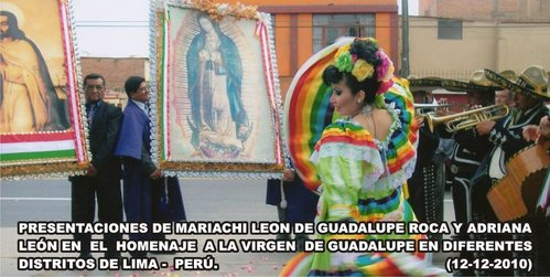 Mariachis de Lima Peru serenading the Virgin of Guadalupe Lima