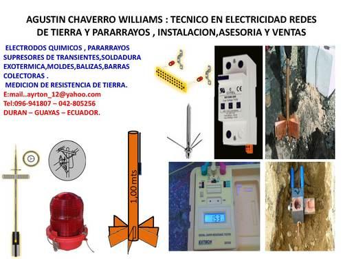 fabricacion de electrodos quimicos, pararrayos redes de tierra en gene