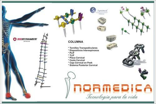 Columna, Tornillos Transpediculares, Cajas Cervicales, Plif, Peek, Ti