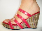 Sandal leer strips verpakt in jute platform kleuren