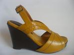 Sandalia en cuero para mujer, con plataforma de 9 cm