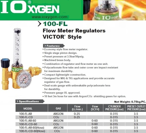 Regulators for Argon and CO2 Gas Flowmeter Oxygen Brand Morris-I