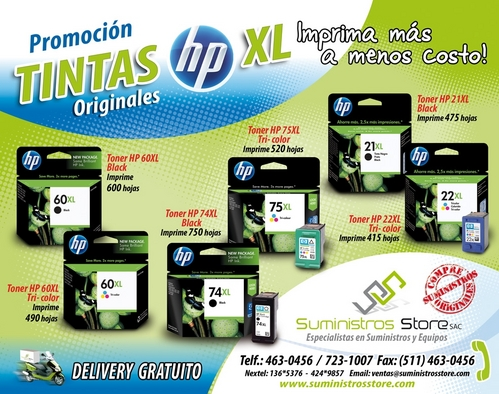 High-capacity HP original inks new free delivery in Lima