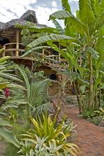 Nuestros increíble jardín y las cabañas matrimoniales atrás....