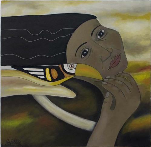Mujer indígena y Tucan