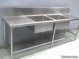 sink 02 wells in stainless steel