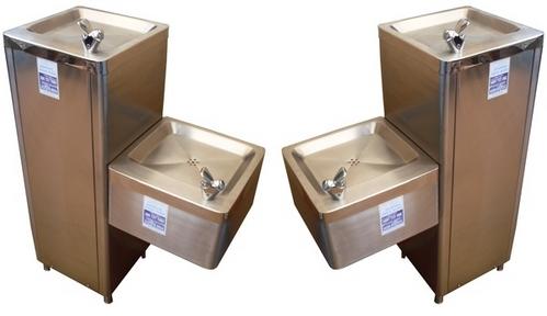 Bebederos de Agua doble bandeja en Acero Inoxidable