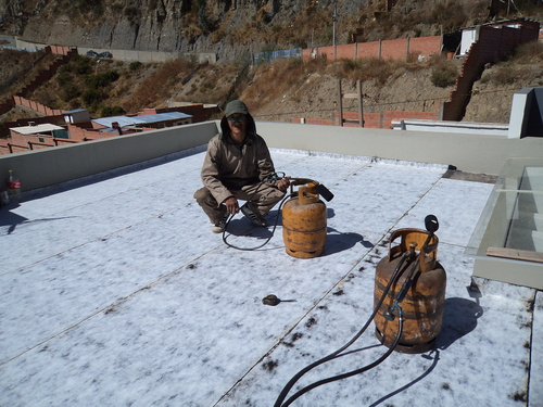 TERRACE GEOTEXTILE waterproofed with high traffic