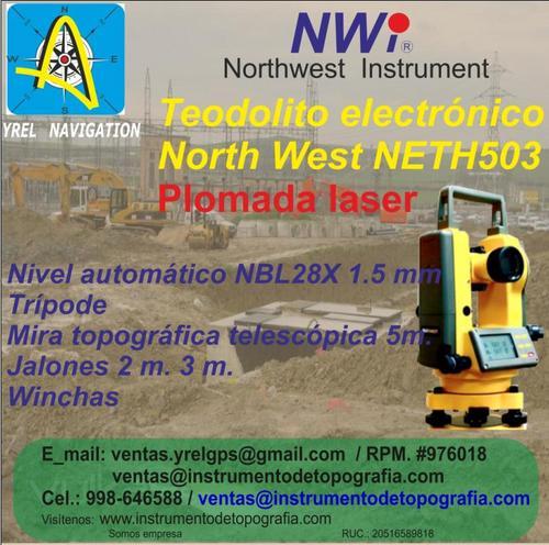 Teodolito Electrònico, con plomada laser y òptica, North west