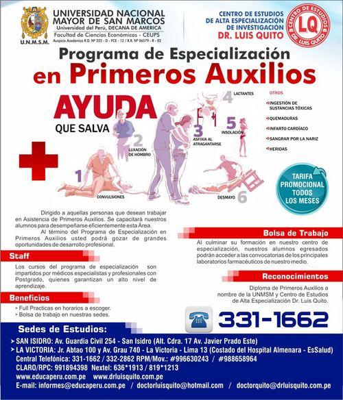 UNMSM - Programa de Especializacion en Primeros Auxilios