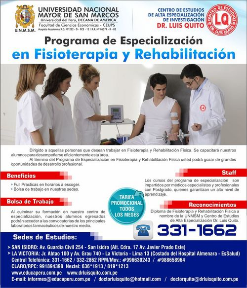 UNMSM - Programa de Especialización el Fisioterapia y Rehabilitación