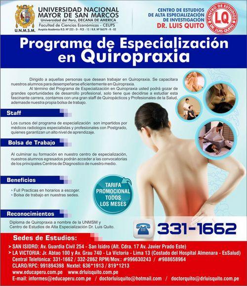 UNMSM - Programa de Especialización en Quiropraxia