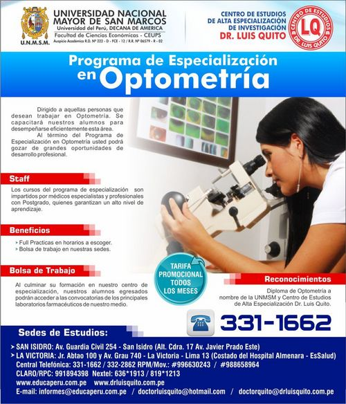 UNMSM - Programa de Especialización en Optometría