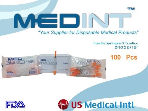 insulin syringes 0.5ml/cc 31g x 5/16 Medint