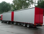 lado da cortina do caminhão