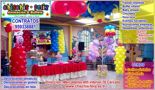 CHILDREN'S PARTIES, BABY SHOWER , CRAZY TIME , DEOCRACIONES , chicotekas