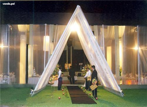 Toldo cristal ingreso columna triangular