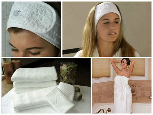 White Towels, robes, headbands, turbans, robes shorts, spa