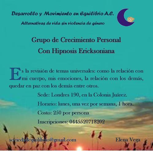 Terapia y Taller de crecimiento personal con hipnosis Ericksoniana