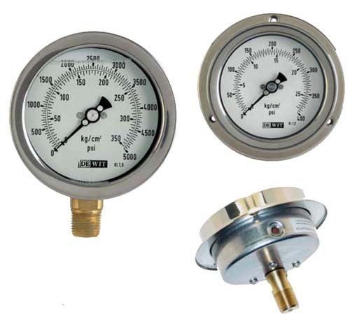 Medidores de pressão verticais e mais tarde todas as faixas