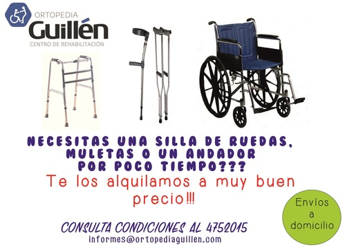 Rental of wheelchairs, crutches and walkers