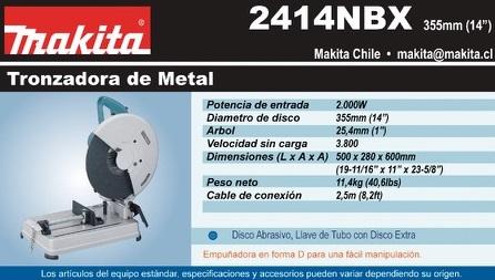 Hoja Tecnica de Tronzadora de Metales Mca. Makita-Japon Mod. 2414 NBEX