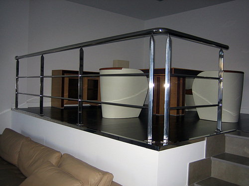 Stainless steel railing separating two environments