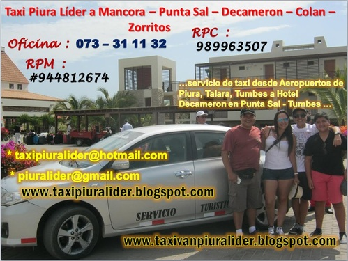 Taxi Piura Líder a Hotel Decameron en Punta Sal.