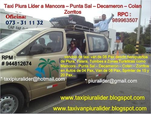 Taxi van Piura Líder a Punta Sal - Decameron - Zorritos #