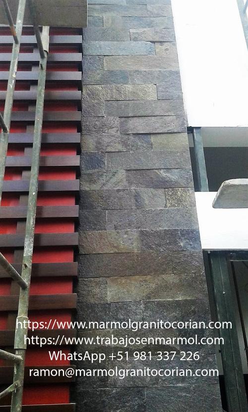 piedra talamoye en la pared, piedra laja, piedra granítica