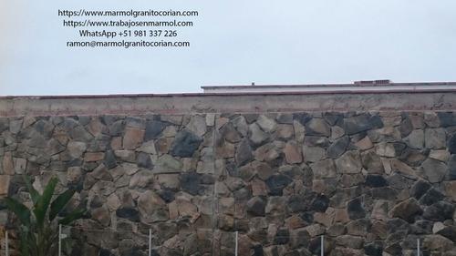 enchape de piedra irregular en piedra talamoye, piedra laja,