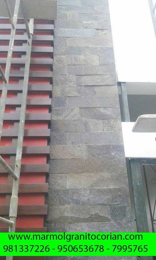 enchape en la pared de piedra talamoye, piedra laja, piedra granítica