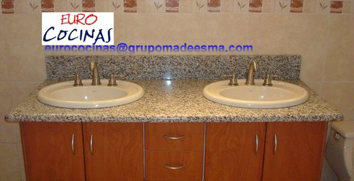 BATHROOM FURNITURE WITH TWO TOP OF GRANITE WASHBASINS
