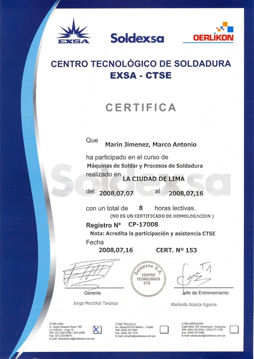CERTIFICATION ISSUED: TECHNOLOGICAL CENTER SOLDEXSA-2008 WELDING