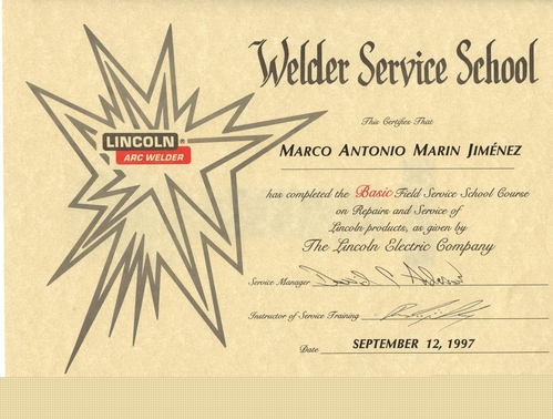 CERTIFICATION ISSUED: LINCOLN ELECTRIC COMPANY-USA-1997