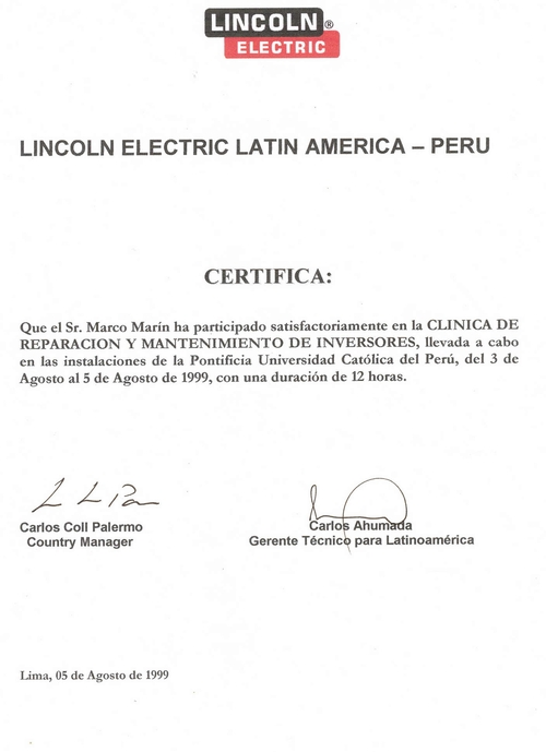 CERTIFICATION ISSUED: LINCOLN ELECTRIC LATIN AMERICA-PERU-1999